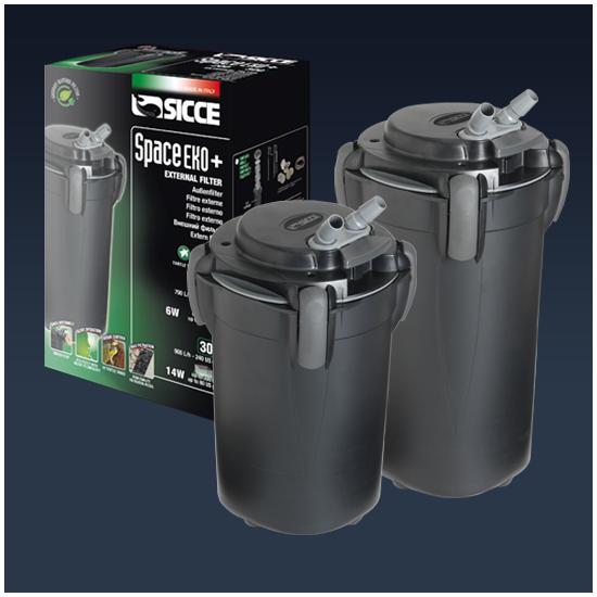 Sicce S.p.A SICCE Vnější filtr Space EKO+ 100, 550 l/h, pro akvária do objemu 100 l, s filtračními náplněmi